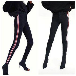ZARA TRAFALUC High Rise Black Striped Skinny Jeans